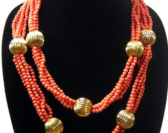 William De Lillo necklace sale, rare vintage designer jewelry, circa 1970, runway statement beaded necklace, free shipping