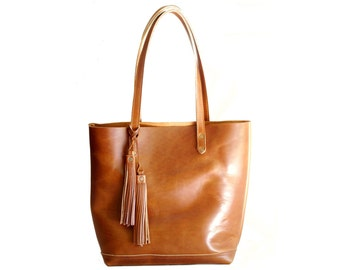 The Panama Tote in Deep Tan SS14- cognac, tan, vegetable tanned, American sourced, full grain leather