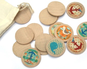 Ocean Water Toys -  Wooden Matching Game - Montessori Toys - Waldorf Toy - Eco Friendly Wooden - Travel Game