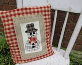Accent Pillow Tuck Button Art Homespun Colorful Soft Handmade Winter Country Embroidery Red Snowman