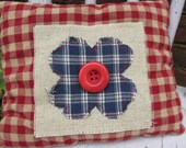 Accent Pillow Tuck Button Art Homespun Colorful Soft Handmade Country Embroidery Flower Red Blue Prim