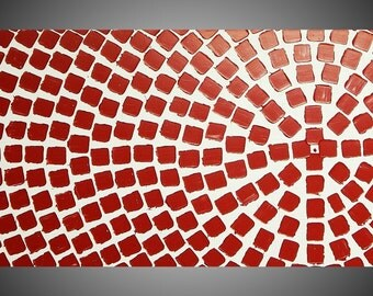 Red Squares Painting Abstract Acrylic Paintings Art Deco Textured White and Red Modern Ready to Hang 48 x 24 Art by ilonka Made to Order