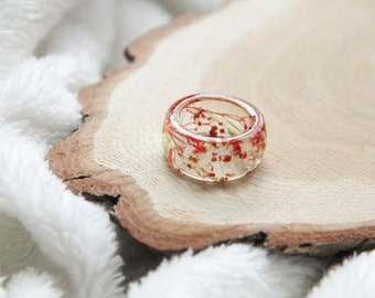 Resin ring with preserved flowers, Transparent resin ring with dried flowers, Terrarium resin ring, Herbal Resin Ring With Real Flowers