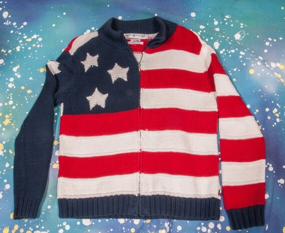 Tommy HILFIGER Zip Up American Flag Sweater