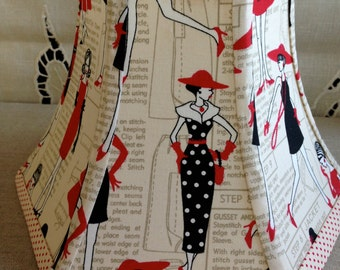 Vintage fashion print lamp shade.Red, black and white Fashionista print. clip shade