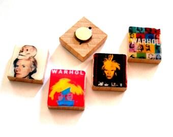 Andy Warhol Pop Art Scrabble Tile Magnet Set of 4