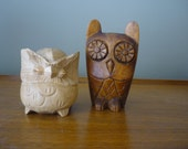 Set of 2 Vintage Wood Owl Figurines, Instant Collection