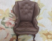 Wing Chair Genuine Leather - By Pat Tyler Leather Dollhouse Miniatures