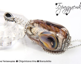 Pendant Elf Song - artisan lampwork bead 3D - clear glass ivory shimmering purple - on chain