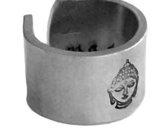 Meditate Ring Buddha 1/2 Inch Cuff Yogi Hand Stamped Personalized Aluminum Spiral Ring Jewelry