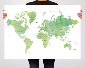 World Map Watercolor Political Art Print Map Poster - Summer Celebrations - Travel Map World Map - Pin Trip Adventures, Travel Gift -