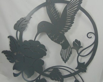 Hummingbird and Floral Metal Wall Hanging - Made To Order!  Choose your color!