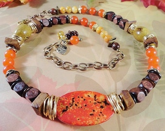 Wood And Stone Necklace With Warm Autumn Colors, Brass, Wood Beads, Jasper, River Shell, Browns, Golds, Reds, Orange Quartzite, OOAK