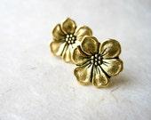 Gold Flower Earrings. Apple Blossom Post Earrings. Metallic Gold Plated Earrings. Floral Gold Stud Earrings. Women's Romantic Post Earrings.