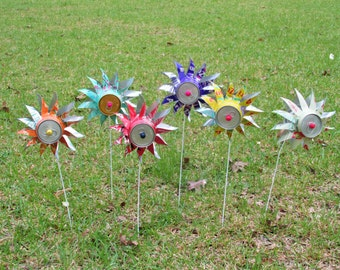 Garden Flower Spinners, Pinwheels, Set of 3 All Same Color