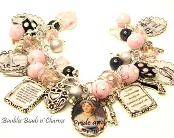 Jane Austen Pride and Prejudice Bracelet Jewelry, Pride and Prejudice Charm Bracelet, Jane Austen Jewelry, Literary Charm Bracelet, Writers