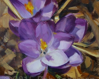 Small Oil Painting of Spring Crocuses