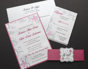 Fleur De Lis Wedding Invitation, New Orleans Wedding, Wedding Invitations,  Flourish Wedding,