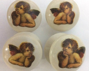 4 x Gorgeous Vintage Style Hand-painted & Decoupage Cherub Angelo Angel Large 2 inch Drawer Knobs