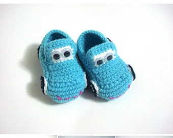 baby boy shoes, Baby Booties Cars blue turquoise , baby slippers, baby booties 0 12 month baby, crochet baby shoes, baby shower gifts