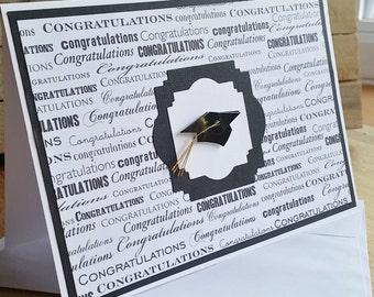 Congratulations Graduate Black and White Greeting Card 5x7 Handmade