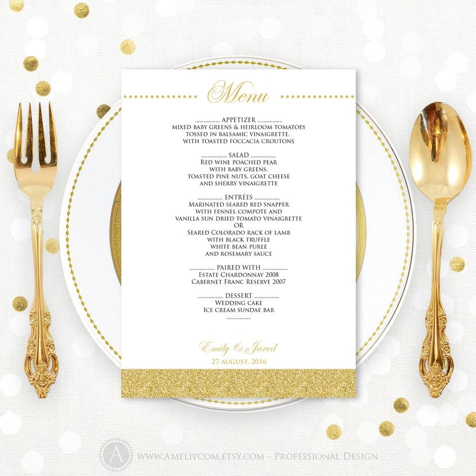 DIY Menu Cards EDITABLE Glam Gold Instant download PDF file