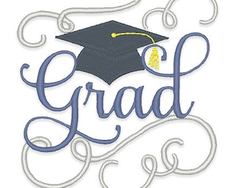 Graduation Embroidery Design - Instant Download