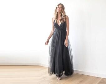 Black straps wrap tulle maxi gown, Bridesmaids black strap dress