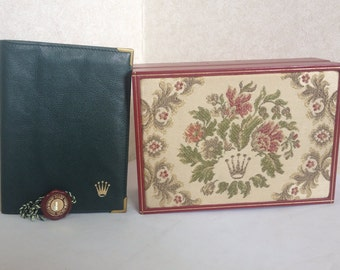 Vintage ROLEX Pink, ivory, gold, and green flower embroidery collectible, jewelry, treasure red watch box. Montress ROLEX SA 69.01.2