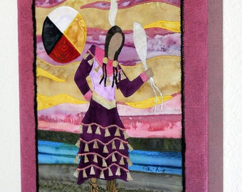 Native American Jingle Dress Dancer, four directions, art quilt on canvas, home decor