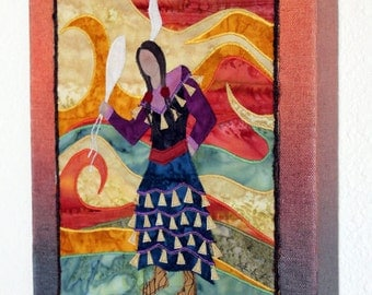Native American Jingle Dress Dancer, art quilt on canvas, home decor