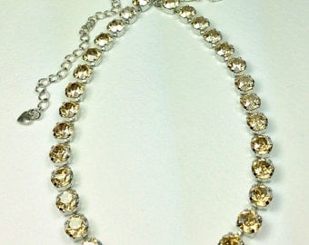 Swarovski Crystal Necklace  - Designer Inspired -  Everyone's Favorite - Sunny Golden Shadow Crystals