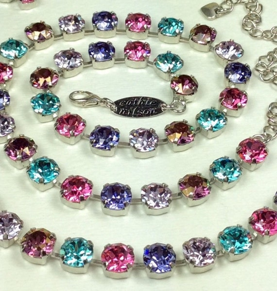 """Swarovski Crystal 8.5mm Necklace & Bracelet - """"Scheherazade""""   Exotic, Mysterious,and Colorful - Designer Inspired - FREE SHIPPING"""