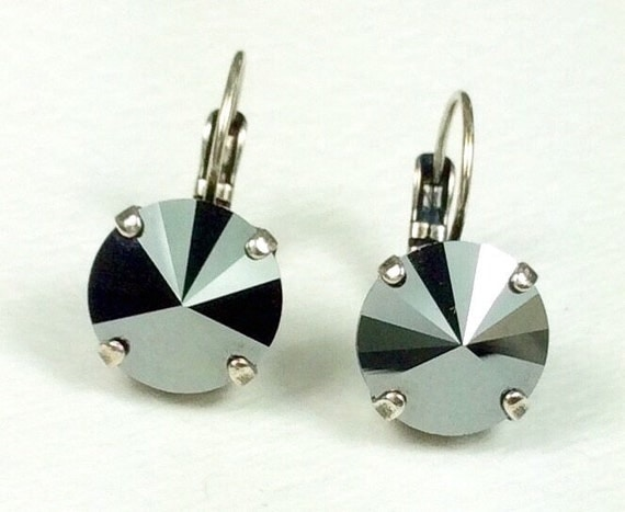 Swarovski Crystal 12MM Drop Earrings Classy & Feminine - Jet Hematite - Or Choose Your Favorite Color and Finish - FREE SHIPPING