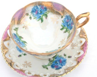 Teacup Set/Vintage Royal Sealy Inspired Teacup and Saucer Duo, Iridescent, Opalescent, Tea Party, Gifts for Her, Replacement China