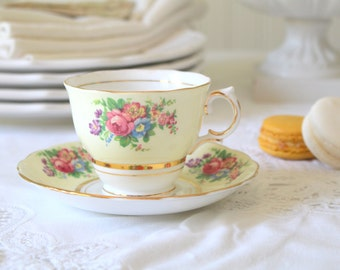 Vintage, English Bone China, Tea Cup and Saucer by Colclough, Tea Party, Replacement China