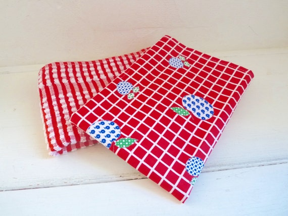 Vintage Set Of 2 Retro Kitchen Towels French Red Dish Towel