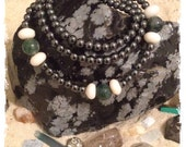 """Hematite & Moss Agate Necklace - 18"""""""