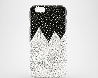 Day and Night mobile phone case, iPhone 7, iPhone 7 Plus, iPhone SE, iPhone 6S iPhone 6, iPhone 5S, iPhone 5, monochrome mountain phone case