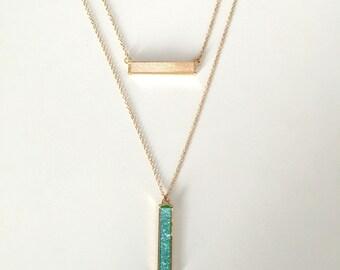 Layered Druzy Bar Necklaces // Druzy Bar Necklace