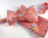 Mens Bowtie and pocket square - made in Ralph Lauren Linen floral fabric ~ hankerchief ~