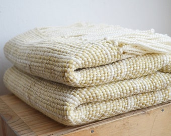 Woven knit bed cover, Eco handwoven Blanket, Organic throw, Yellow Marcela Dyed Wool wrap, Floral Marcela plant