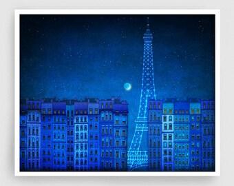 The lights of the Eiffel tower (landscape)- Paris illustration Art illustration Art Poster Wall art Paris Home decor art Blue
