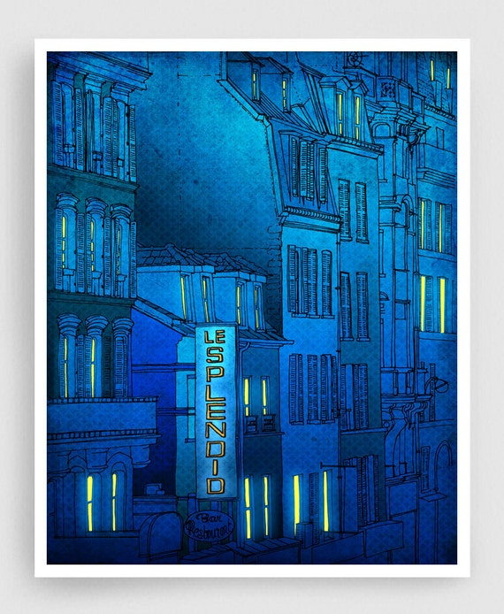 Good morning Paris - Paris Fine art illustration Art Poster Paris art Paris Home decor Wall decor Large wall art City prints Turquoise Blue