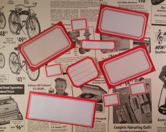12 Assorted Vintage Dennison Gummed Labels | Red Border Labels
