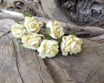 Light Yellow Flower Wedding Hair Pins,  Bridal Hair Pins, Hair Accessories, Fabric Hair Pins, Bridesmaid Hair, Woodland - Set of 6