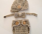 Newborn Crochet Visor Hat and Diaper Set Bowtie Set Boy Crochet Hat Set  Newborn Photo Prop Boys Item Coming Home Outfit Made to Order