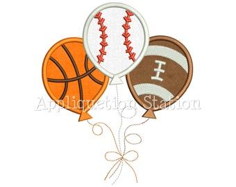 Sports Birthday Balloons Applique Machine Embroidery Design Balloon trio Three Baseball, Basketball, Football INSTANT DOWNLOAD