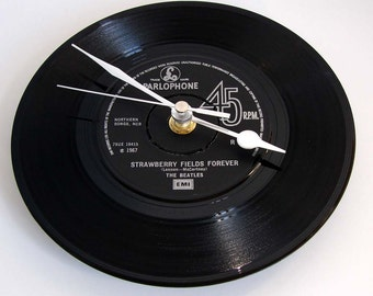 "The BEATLES Vinyl Record CLOCK, ""Strawberry Fields Forever"", made from a recycled 7"" record, Other songs also available, strawberry fields"