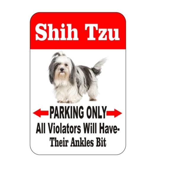 Shih Tzu sign, pet sign, funny sign, aluminum sign, metal sign, yard sign, garage sign, driveway sign, house sign, warning sign